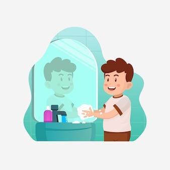 Higiena nawyków wektor, szczęśliwy ładny mały chłopiec dziecko mycie rąk w zlewie