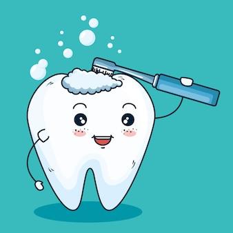 Higiena zębów z wyposażeniem szczoteczki do zębów
