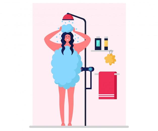 Higieniczna pielęgnacja ciała, charakter kobieta myć organizm na białym tle na białe, płaskie ilustracja. kobieta weź kabinę prysznicową w łazience.