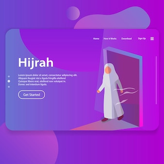Hijrah ilustracja islamskiego nowego roku landing page ui web design