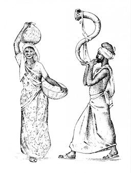 Hindusi pracujący w indiach. grawerowane ręcznie rysowane w starym szkicu, styl vintage. różnice hinduskiej ludności etnicznej w tradycyjnym stroju. ilustracja. kostiumy religijne.