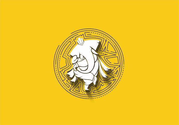 Hinduski bóg ganesha - słoń. ilustracja liniowa.