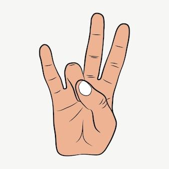 Hip-hopowy gest ręki. znak rapu na wschodnim wybrzeżu. ilustracja wektorowa.