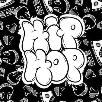 Hip-hopowy styl uliczny. darmowy dziki styl dla miejskich murów miejskich. druk ilustracji w nowoczesnym stylu.