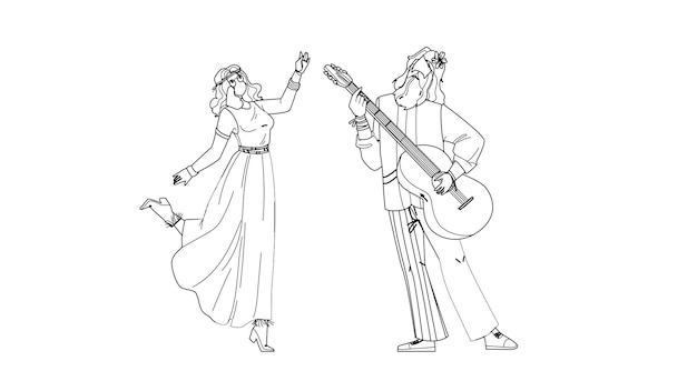 Hipis para tańczy i gra na gitarze