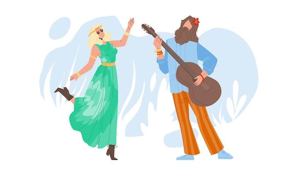 Hipis para taniec i gra na gitarze wektor. młody mężczyzna i kobieta hippie wykonujących na instrument muzyczny i taniec razem. postacie śmieszne czas wolny płaska ilustracja kreskówka
