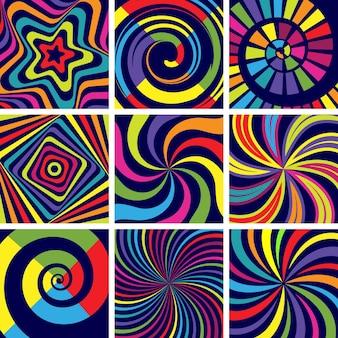 Hipnotyczne kolorowe kształty. streszczenie okrągłe spiralne nowoczesne tło tapeta kliniki psychologii.
