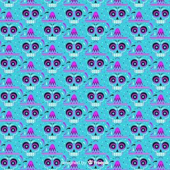 Hipnotyczne oczy czaszki wzór dia de muertos