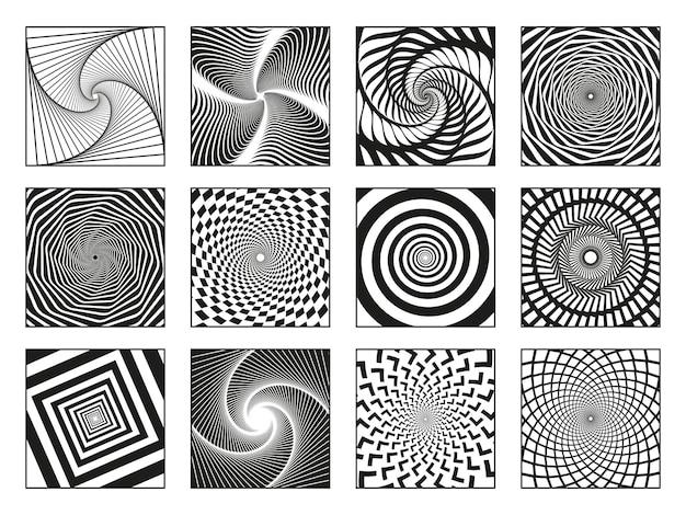 Hipnotyczne spirale. vortex ruchu hipnotyzują spirale, obracanie elementów spirali ruchu wektor zestaw ilustracji. streszczenie spirale hipnotyczne. vortex hipnotyczny, spiralny ruch kołowy, psychodeliczny rotacyjny