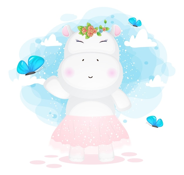 Hipopotam dziewczyna szczęśliwy grając z kreskówki motyl