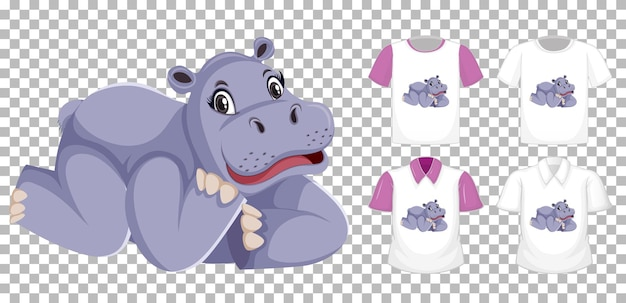 Hipopotam w pozycji leżącej postać z kreskówki z wieloma rodzajami koszul na przezroczystym tle