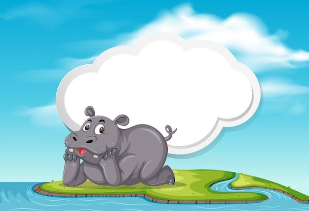Hipopotam w szablonie natury