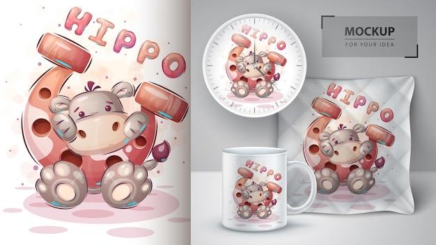 Hipopotam z postacią z kreskówek z podkową?