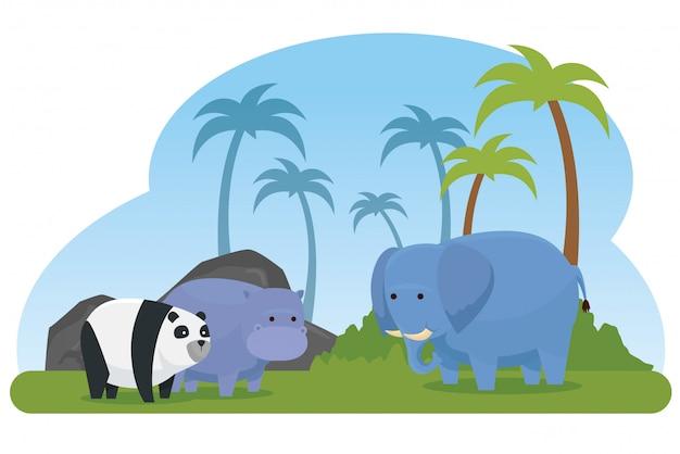 Hipopotam ze słoniem i panta dzikimi zwierzętami