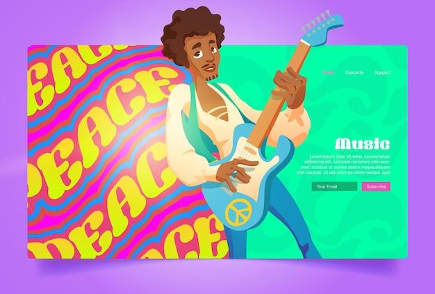 Hippie muzyka pokojowa w stylu kreskówki hipis czarny człowiek grający na gitarze śpiewający sztandar