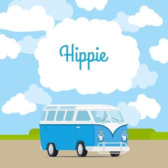 Hippie rocznika mini van szablon