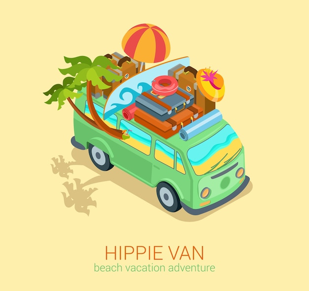 Hippie van travel beach adventure vacation flat 3d web