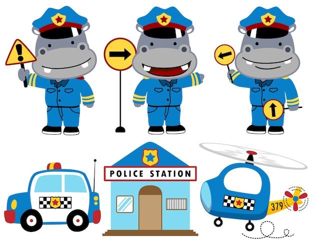Hippo cartoon śmieszne policji z wyposażeniem polices
