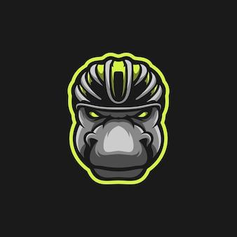 Hippo jazdy kask maskotka projekt wektor