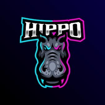 Hippo maskotka logo esport gaming
