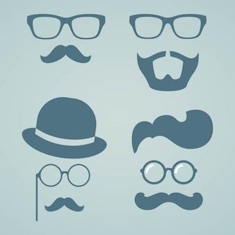 Hipster broda i wąsy