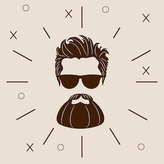 Hipster brodaty sylwetka. moda wektor ilustracja eps 10 na białym tle.