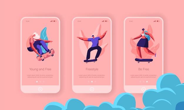Hipster character skate deskorolka strona aplikacji mobilnej zestaw ekranu na pokładzie. skater man on longboard cool freedom lifestyle. witryna lub strona internetowa urban sport. ilustracja wektorowa płaski kreskówka