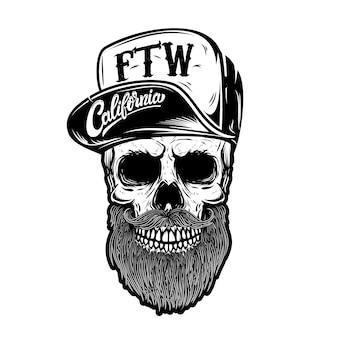 Hipster czaszka w czapce z daszkiem z napisem california, na zawsze dwa koła. element na logo, etykietę, godło, znak. wizerunek