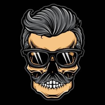 Hipster czaszka z okularami przeciwsłonecznymi