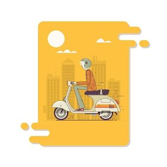 Hipster człowiek jazda szybkie skutery retro. nowoczesna cienka udar liniowy ilustracja