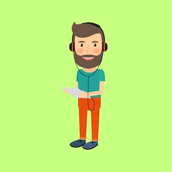 Hipster człowiek z gadżetem i słuchawkami