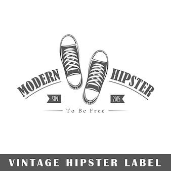 Hipster etykieta na białym tle