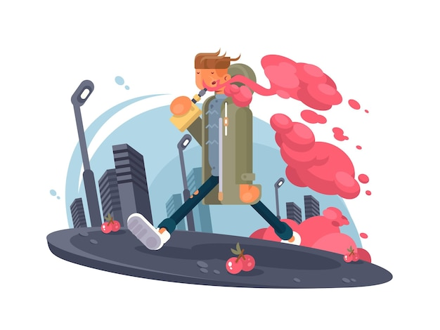 Hipster facet palenia vaper i deptaku miasta. ilustracja wektorowa
