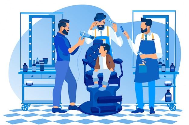 Hipster fryzjerzy robią fryzurę dla małego chłopca