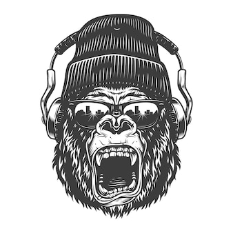 Hipster gorila twarz