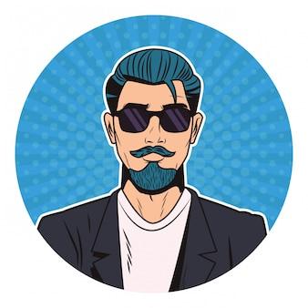 Hipster kreskówka pop-artu