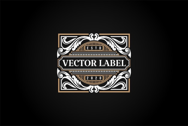 Hipster luksusowy retro vintage odznaka godło etykieta logo projekt wektor