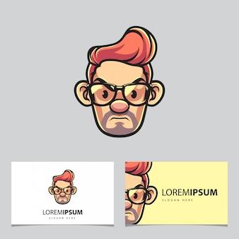Hipster maskotka człowieka i wizytówki