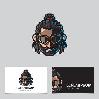 Hipster maskotka logo, szablon karty z imieniem
