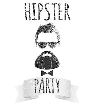 Hipster męski z okularami z napisem - hipster party. moda vintage wektor ilustracja logo, plakat i t-shirt.