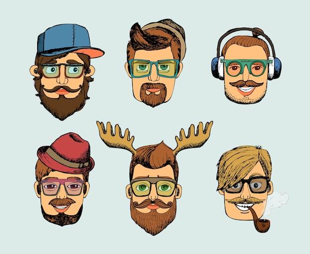 Hipster mężczyzna głowy awatary z wąsami, brodą, fajką i rogami