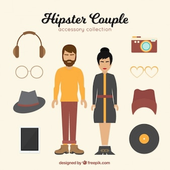 Hipster para z różnymi akcesoriami