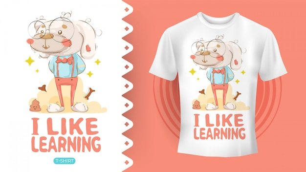 Hipster pies rysunek idealny pomysł na koszulę