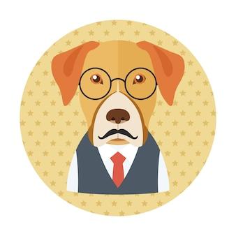 Hipster pies w okularach, wąsy i krawat