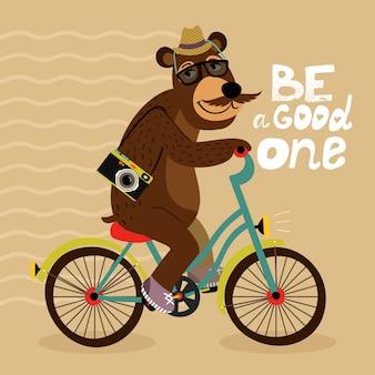 Hipster plakat z niedźwiedziem geek