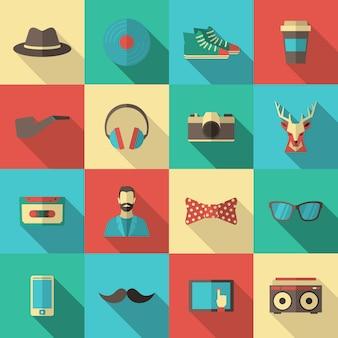 Hipster płaski zestaw ikon