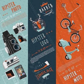 Hipster płaskie banery zestaw