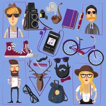 Hipster płaskie ikony składu plakat