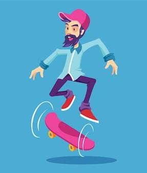 Hipster postać na ilustracji kreskówki płaskiej longboard