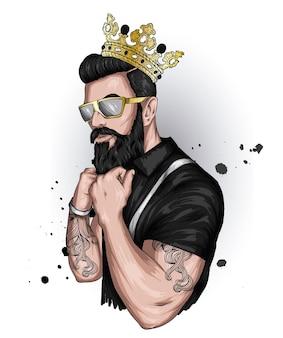 Hipster przystojny mężczyzna w koronie i okularach